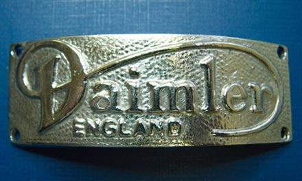 Replacement Daimler badge close up